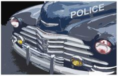 Old Chevrolet Police Car Poster