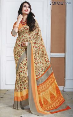 MULTI COLOR SILK PRINTED SAREE