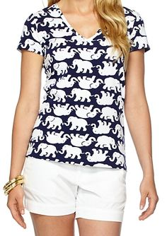 Lilly Pulitzer Michele V-Neck Top in Tusk In Sun