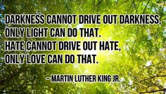 """Darkness cannot drive out darkness; only light can do that. Hate cannot drive out hate; only love can do that."" - Martin Luther King Jr"