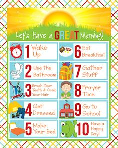 Free Printable Children's Schedules i should be mopping the floor: Friday's Freebie: Children's Visual Schedules {For the Morning}<br> These brand new free printable children's schedules are perfect to keep mornings calm and orderly. Morning Routine Chart, Morning Routine Kids, Morning Checklist, School Checklist, Kids Checklist, Babysitting Activities, Activities For Kids, Preschool Activities, Outdoor Activities