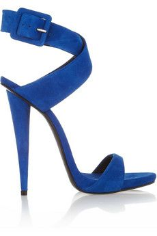 GIUSEPPE ZANOTTI blue suede ankle wrap sandal #shoes