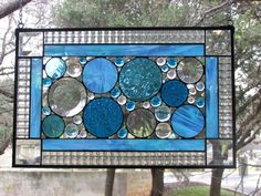 Stained Glass Panel by GKYCreations on Etsy Stained Glass Projects, Stained Glass Art, Window Panels, Glass Panels, Thing 1, Sunroom, Clear Glass, Iridescent, Aqua