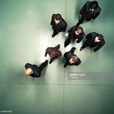 Stock Photo : Group of business people walking, overhead view