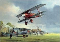 The Age of Chivalry A typical scene at a German aerodrome close to the front in the spring of 1917. A victorious German pilot makes a triumphant low pass in his beautifully streamlined Albatros D III fighter plane. Signed by Gustav Boehl, a WWI Albatros combat pilot and squadron commander.