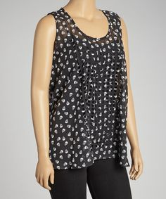 Look what I found on #zulily! Black Sheer Skull Sleeveless Top - Plus by Yummy #zulilyfinds