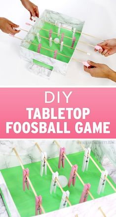 DIY Tabletop Foosball Game for kids made from a cardboard box! ~ DIY Tabletop Foosball Game for kids made from a cardboard box! Cardboard Crafts Kids, Cardboard Toys, Cardboard Box Ideas For Kids, Cardboard Box Diy, Diy Carnival Games, Diy Games, Carnival Tent, Carnival Prizes, Carnival Decorations