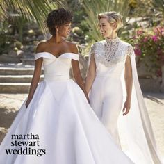 Just gorgeous! I love the pant suit with the train on the shoulders!  Samira Wiley wedding