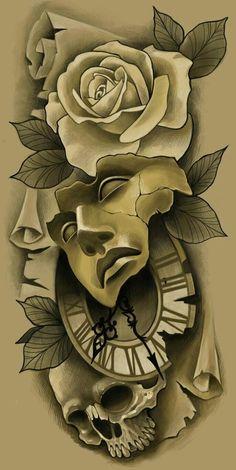 Oskar's wall photos – skull tattoo sleeve Rose Drawing Tattoo, Tattoo Design Drawings, Tattoo Sleeve Designs, Tattoo Sketches, Sleeve Tattoos, Chicano Tattoos, Skull Tattoos, Body Art Tattoos, Mago Tattoo
