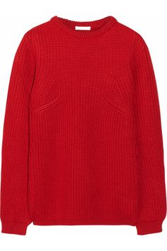a7cfbc04ae Red chunky-knit merino wool Ribbed Slips on merino wool Dry clean Designer  color  Carmine Red