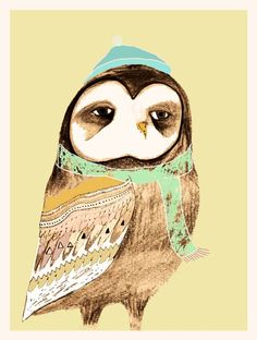 Art print Snuggly Owl Limited Edition owl art by by AshleyPercival, $40.00