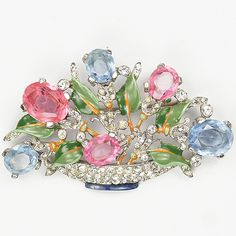 #Trifari 'Alfred Philippe' Pink and Blue Topaz Medium Pastel Flower Basket Pin