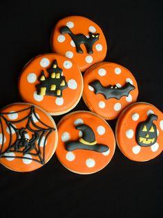 Halloween Cookies - 1 dozen - Halloween cookie favors. $39.00, via Etsy.