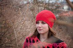 Červená karkulka čepice Háckovana Hucka se vzorkem ze 100% bavlny