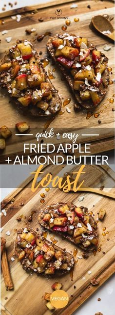Fried Apple and Almond Butter Toast Healthy Vegan Breakfast Ideas Breakfast Toast, Breakfast Snacks, Vegan Breakfast Recipes, Best Breakfast, Vegan Recipes Easy, Quick Vegan Breakfast, Quick Vegan Meals, Breakfast Ideas, Vegetarian Brunch Recipes