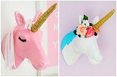 2 Ways to Decorate a Mache Unicorn Head #mache #craft #home #unicorn #head #diy