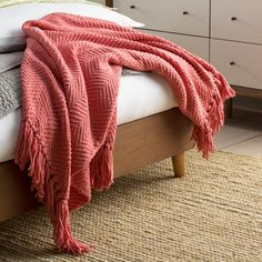 Three Posts Nader Tweed Knitted-Design Throw Color: Strawberry Ice, Size: x Contemporary Blankets, Contemporary Area Rugs, Coral Throw Blanket, Couch Throws, Knitted Throws, Cozy Blankets, Guest Bedrooms, Living Room Modern, Comforter Sets