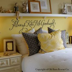 Always Kiss Me Goodnight  romantic wall by OldBarnRescueCompany, $38.00