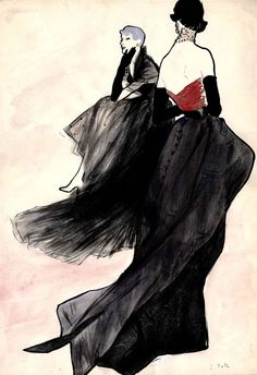 Fashion illustration by René Gruau, 1949, Jacques Fath, Brush drawing in ink and watercolor.