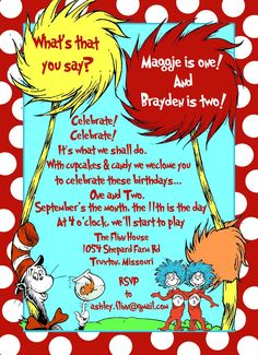 humble hostess: Kids Birthday Party: Thing 1 and Thing 2 - Love it
