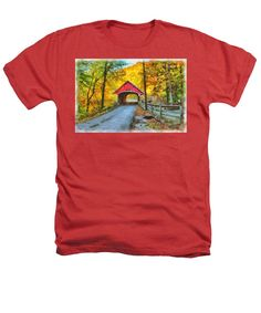 Flume Gorge covered bridge against golden color Heathers T-Shirt
