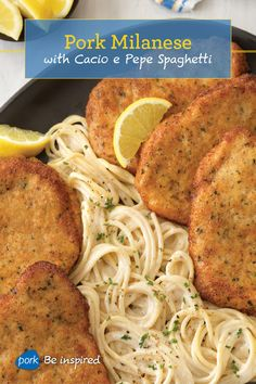 An Italian specialty, Pork Milanese with Cacio e Pepe Spaghetti is a must-try. Who doesn't like pork chops and spaghetti tossed with cheeses? Pork Chop Recipes, Meat Recipes, Dinner Recipes, Cooking Recipes, Healthy Recipes, Chicken Recipes, Pork Dishes, Pasta Dishes, Italian Dishes