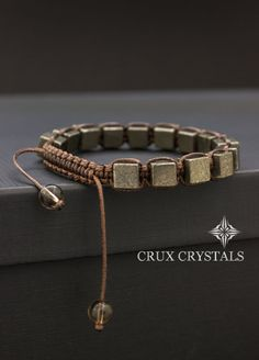 Fools Gold Pyrite Cube Shaped Beaded Mens Bracelet Gemstone