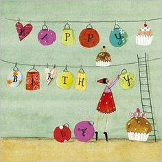 Lady hanging birthday lanterns by Silke LEFFLER
