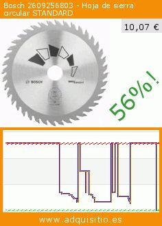 Bosch 2609256803 - Hoja de sierra circular STANDARD (Herramientas y Mejora del hogar). Baja 56%! Precio actual 10,07 €, el precio anterior fue de 22,83 €. https://www.adquisitio.es/bosch/2609256803-hoja-sierra