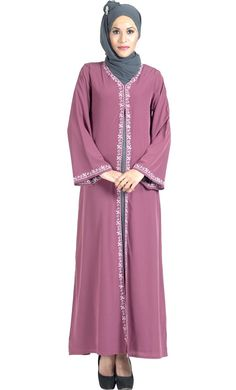 #Kilam - #EastEssence Double Layer Crepe Pink and Grey Abaya Dress - AdoreWe.com