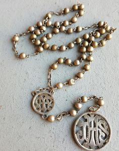 Antique Spanish Silver Rosary Art Nouveau JHS Medal Medallion Catholic Gift Religious Gift IHS Christogram Confirmation Gift Communion Gift by PinyolBoiVintage on Etsy