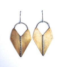 """Sahara Earrings oxidized brass & sterling silver 2"""" x 1"""" sterling silver ear wires   Claire Sommers Buck > Handcrafted Jewelry"""