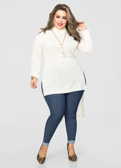 TODAY ONLY - Ashley Stewart  Mock Neck Hi-Lo Sweater for $19.99!