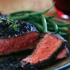 Black-Pepper-Crusted Wagyu New York Steaks with Black Truffle Vinaigrette [ www.crimsongourmet.com ]