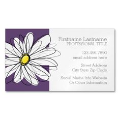 Shop Purple and Yellow Whimsical Daisy Custom Text Magnetic Business Card created by MarshEnterprises. Personalize it with photos & text or purchase as is!