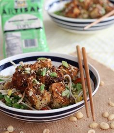 Healthy Chinese food ideas and New Years Eve food ideas for vegan Crispy Tofu with Sweet and Sour Orange Sauce