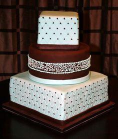 wedding cakes | ... Round Teal and Brown Fondant Wedding Cake | Sweet Indulgences Cakes