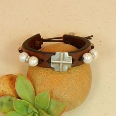 Pearl and Crystal Cuff Bracelet with Cross