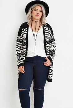 Plus Size Geo Stripe Cardigan