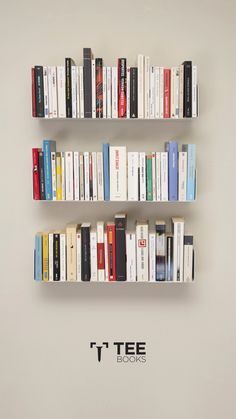 Create a perfect #bookcase with the floating shelves TEEbooks!  Invisible and functional, they are the best for your #homedecor!