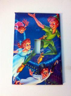 Peter Pan Switch Plate, Vintage, Handmade Light Switch, Kids Room, nursery decor, Fairy tale, tinker bell by LittleMissGypsyJewel on Etsy https://www.etsy.com/listing/207941954/peter-pan-switch-plate-vintage-handmade