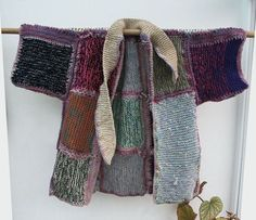 Hand Knit and Crochet Patchwork Kimono Coat by atthetreehouse on Etsy: No pattern, but looks easy enuf to do Crochet Quilt, Knit Crochet, Sweater Knitting Patterns, Hand Knitting, Kimono Coat, Knitting Projects, Knitwear, Sweaters, How To Wear