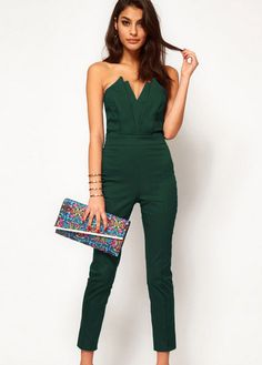 Charming Strapless High Waist Jasper Jumpsuits for Work | Rosewe.com
