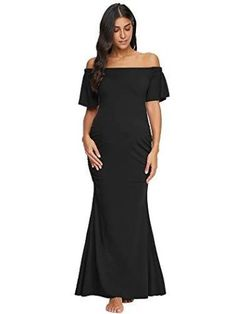 Liu /& Qu Womens Maternity Fitted Gown Long Sleeve Dress V Neck Off Shoulder Photography Dress