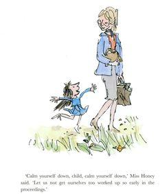 Miss Honey's Cottage from Roald Dahl's Matilda Matilda Roald Dahl, Ms Honey Matilda, Quentin Blake Illustrations, Miss Honey, Roald Dahl Books, Children's Book Illustration, Illustration Styles, Lectures, Conte