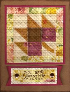 handmade card: Maple Leaf Thanksgiving Quilted Card ... embedded embossing makes the pieces look like cloth ...