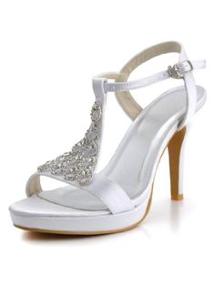 Elegantpark EP2054PF Ivory Womens Open Toe T Strap Rhinestones Stiletto Heel Platform Satin Bride Wedding Sandals US 11 * Click image to review more details.(This is an Amazon affiliate link and I receive a commission for the sales)