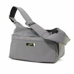 Crossbody Hobo Diaper Bag - in black and white herringbone. So chic!