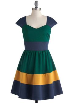 San Francisco Sorbet Dress in Lemon - Green, Yellow, Blue, Colorblocking, Fit & Flare, Cap Sleeves, Sweetheart, Solid, Exclusives, Woven, Mid-length, Casual, Full-Size Run