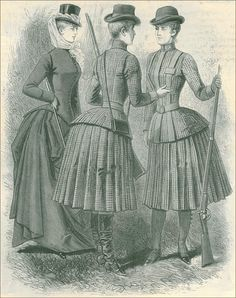 1886  Norfolk jackets -- hunting and riding dress.  Would be a great base for a steampunk costume!